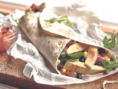 quorn fillets & bean wrap quick vegetarian recipe