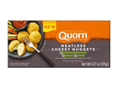 A box of Quorn Meatless Cheesy Nuggets showing the plated product and information on an orange and charcoal background.