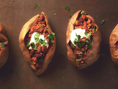 Quorn Chilli in Baked Sweet Potatoes