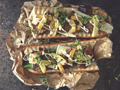 vegetarisk frenchstyle baguette burgare