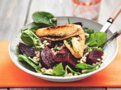 Herb-Stuffed Quorn Meatless Chicken Cutlets with Beet & Bulgur Salad