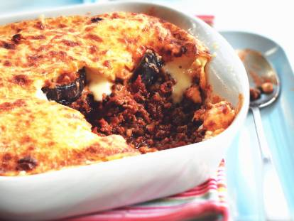 Vegetarian Moussaka with Aubergines & Quorn Mince
