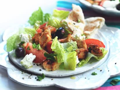 quorn pieces greek salad healthy vegetarian recipe