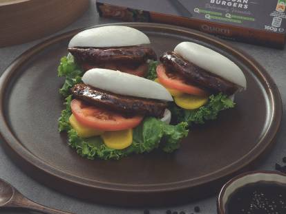 Pan-Seared Vegan Burger with Black Pepper Sauce in Steamed Bun