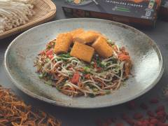 Crispy Fishless Finger with Enoki Mushroom and Cordyceps Flower Salad