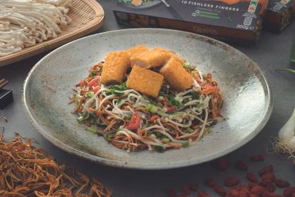 Crispy Fishless Finger with Enoki Mushroom and Cordyceps Flower Salad