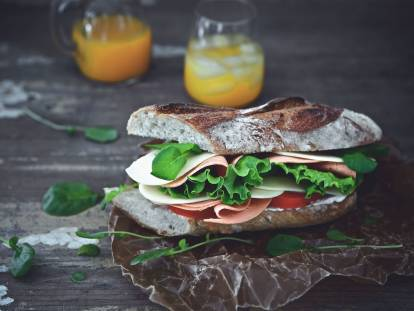 baguette with quorn vegan smoky ham slices sandwich recipe