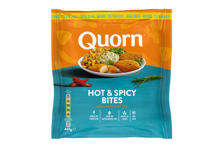 A bag of Quorn Hot & Spicy Bites showing the prepared and plated product and information on an orange and teal background.