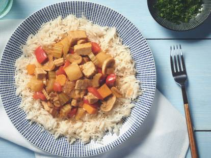 Caribbean Chicken Stew with Quorn Meatless Pieces
