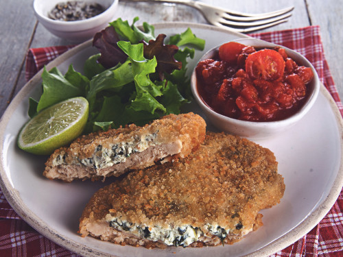 Quorn Cheese & Spinach Schnitzel with a Simple Tomato Sauce