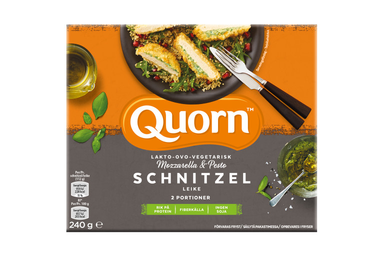 Meat free Quorn Mozzarella & Pesto Escalopes product packaging with nutritional information.