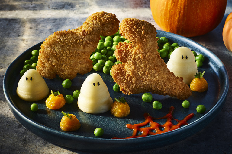 Spooky Roarsomes with Ghost Mash and Pumpkin Swede Purée
