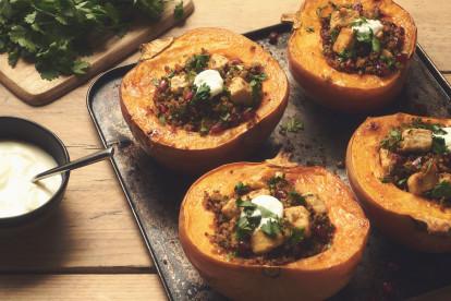 Quorn Pieces & Quinoa Stuffed Pumpkin