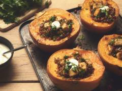 quorn pieces & quinoa stuffed pumpkin vegetarian recipe
