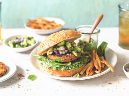 Quorn Hot & Spicy Burger with Sweet Potato Fries