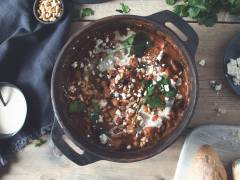 warm chickpea and quorn pieces harissa stew vegetarian recipe