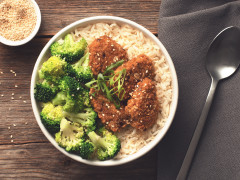 Vegan rice bowl made with Quorn Tex Mex Nuggets served on a bed of rice and topped with broccoli