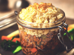 A Quorn Grounds shepherd's pie topped with cauliflower rice and made in a flip-top jar.