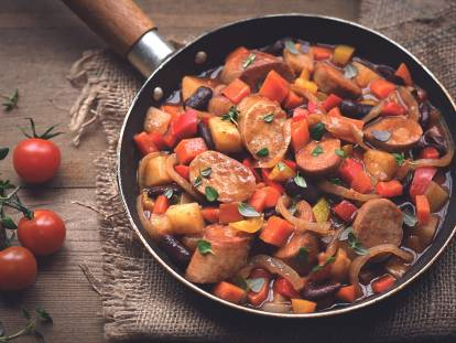 quorn sausage & bean one-pot stew vegetarian recipe