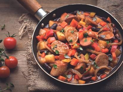quorn sausage & bean one-potstew vegetarian recipe