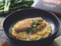 Sweet Pumpkin Risotto with Quorn Vegan Breaded Fillet