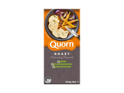 A box of Quorn Roast showing the prepared product and information on an orange and charcoal background.
