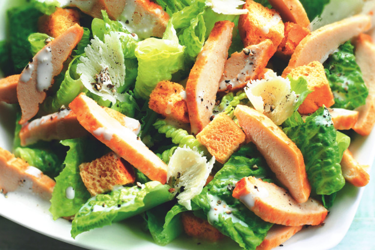 Quorn meat free Caesar Salad with Quorn Fillets or Pieces.