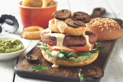 Ultimate Burger with Roasted Mushrooms & Onion Rings