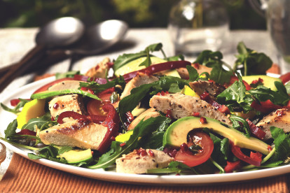Vegan Brazilian salad served with Quorn Fillets, peppers, avocado, tomatoes and rocket