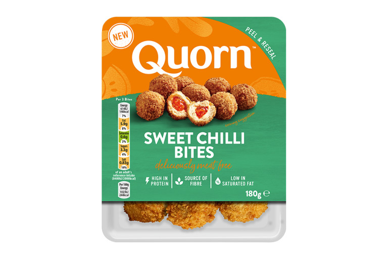 A packet of Quorn Sweet Chilli Bites showing the prepared product and information on an orange and sage green background.