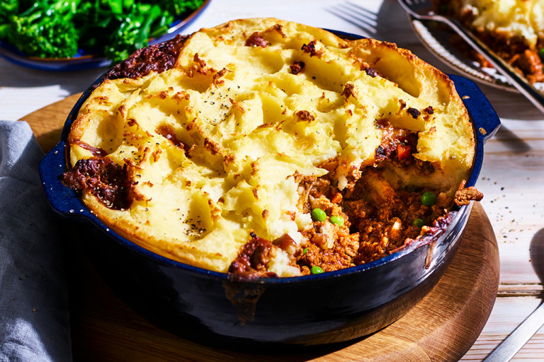 Quorn Vegetarian Cottage Pie, made with Quorn Mince, potato, carrots and peas, served on a plate
