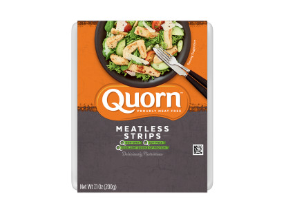 A package of Quorn Meatless Strips with the product visible under an orange and charcoal band showing the product and product information.