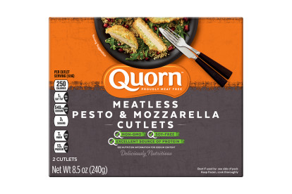 A box of Quorn Meatless Pesto & Mozzarella Cutlets showing the plated product and information on a charcoal and orange background.