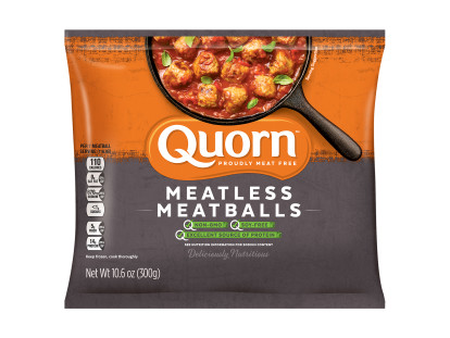 A bag of Quorn Meatless Meatballs showing the plated product and information on an orange and charcoal background.