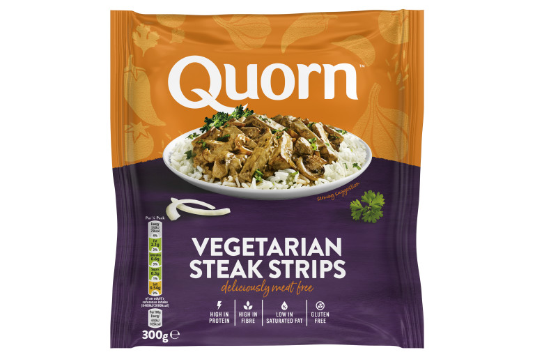 A packet of Quorn Vegetarian Steak Strips showing the plated product and information on an orange and charcoal background.