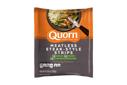 A bag of Quorn Meatless Steak-Style Strips showing the plated product and information on an orange and charcoal background.