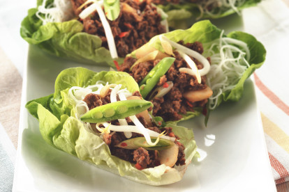 Vegetarian lettuce cups filled with Quorn Mince and vermicelli noodles, topped with beansprouts and sliced snow peas