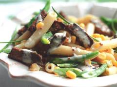 quorn vegetarian steak strips with creamy mustard pasta recipe