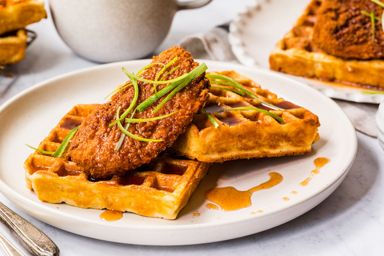 Vegetarian Breakfast Waffles Quorn ChiQin and Waffles