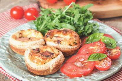Mini Vegetarian Quiche Lorraine with Quorn Bacon