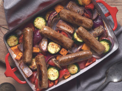 Quorn Vegan Cumberland Sausage and Roasted Veg Roast