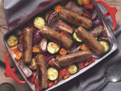 quorn vegan cumberland sausage and roasted veg roast recipe