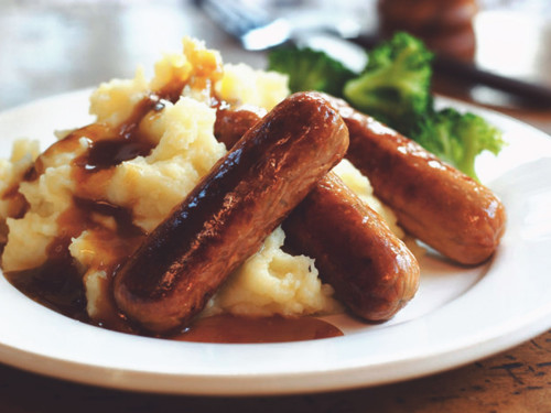 Quorn Sausages with Colcannon Mash
