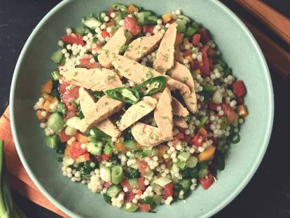 Giant Couscous Salad with Quorn Roasted Sliced Fillets