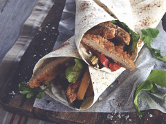 Quorn Southern Fried Burger and Roasted Vegetable Wrap