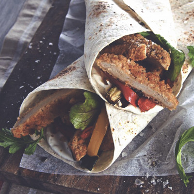 Quorn Meat Free Southern Fried Chicken Burger and Roasted Vegetable Wrap