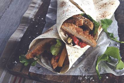 quorn southern fried veggie burger and roasted vegetable wrap quick recipe