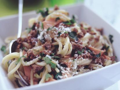 Quorn Mince Spaghetti Carbonara