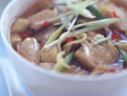 oriental noodle broth with quorn pieces vegetarian recipe
