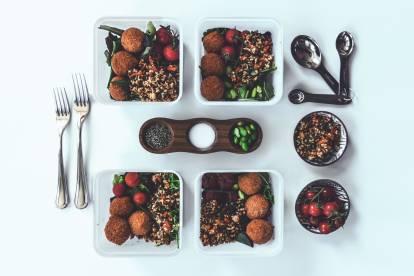 pilaf rice & quinoa salad with quorn mini savoury eggs healthy vegetarian recipe